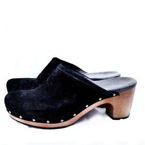 UGG Black Suede Wooden Clogs- Size 9